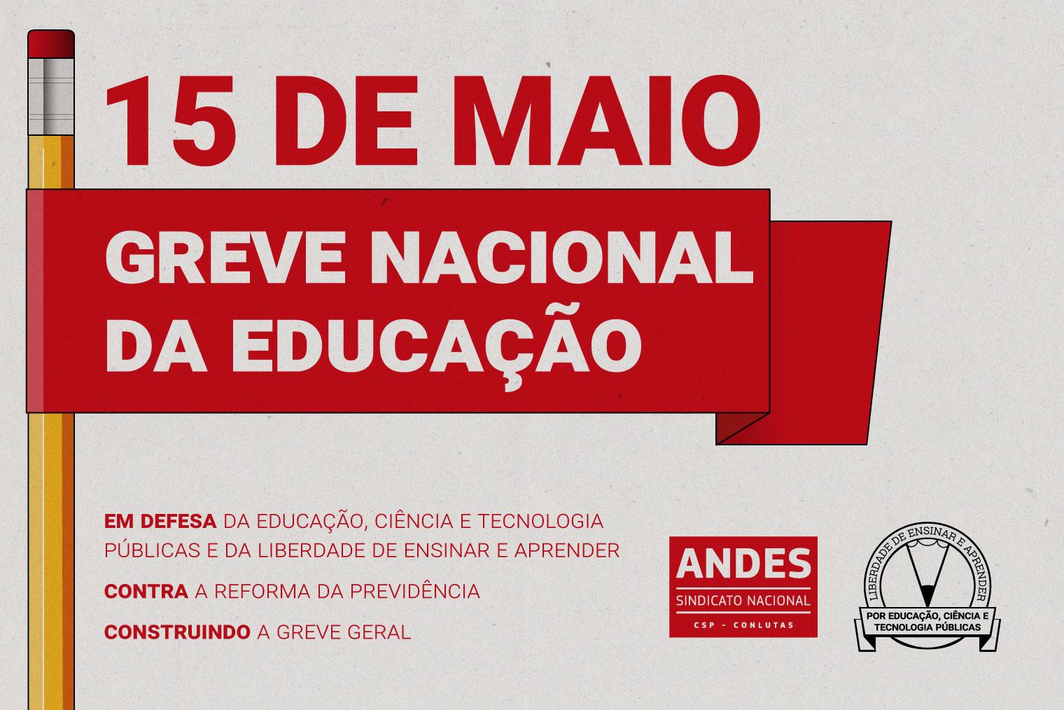 """9db78b42f """"A greve nacional da educação em 15 de maio é uma resposta a todos os  ataques que a educação pública, os professores, estudantes, técnicos  administrativos ..."""